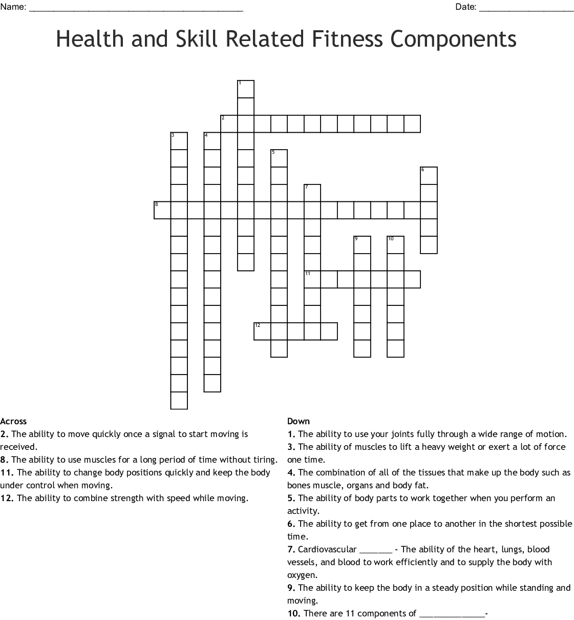 Health And Skill Related Fitness Components Crossword