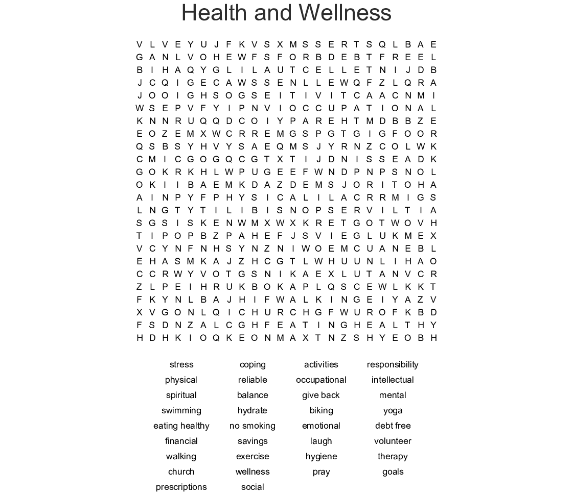 Healthy Lifestyle Word Search