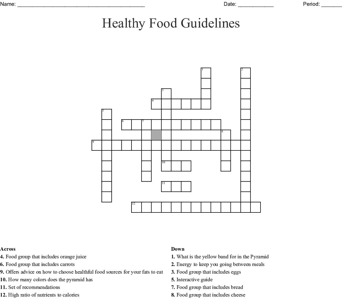 Healthy Food Guidelines Crossword