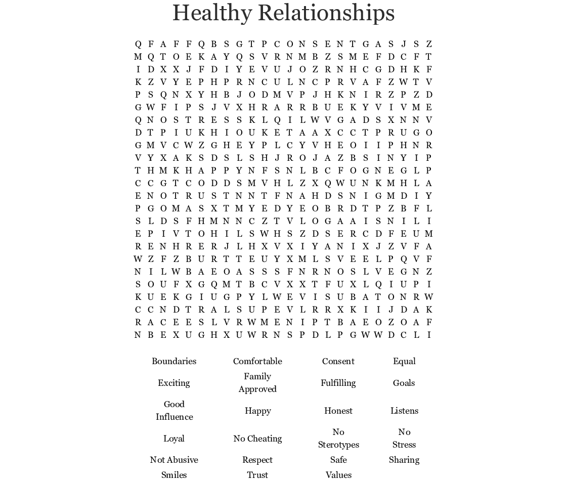 Healthy Relationships Word Search