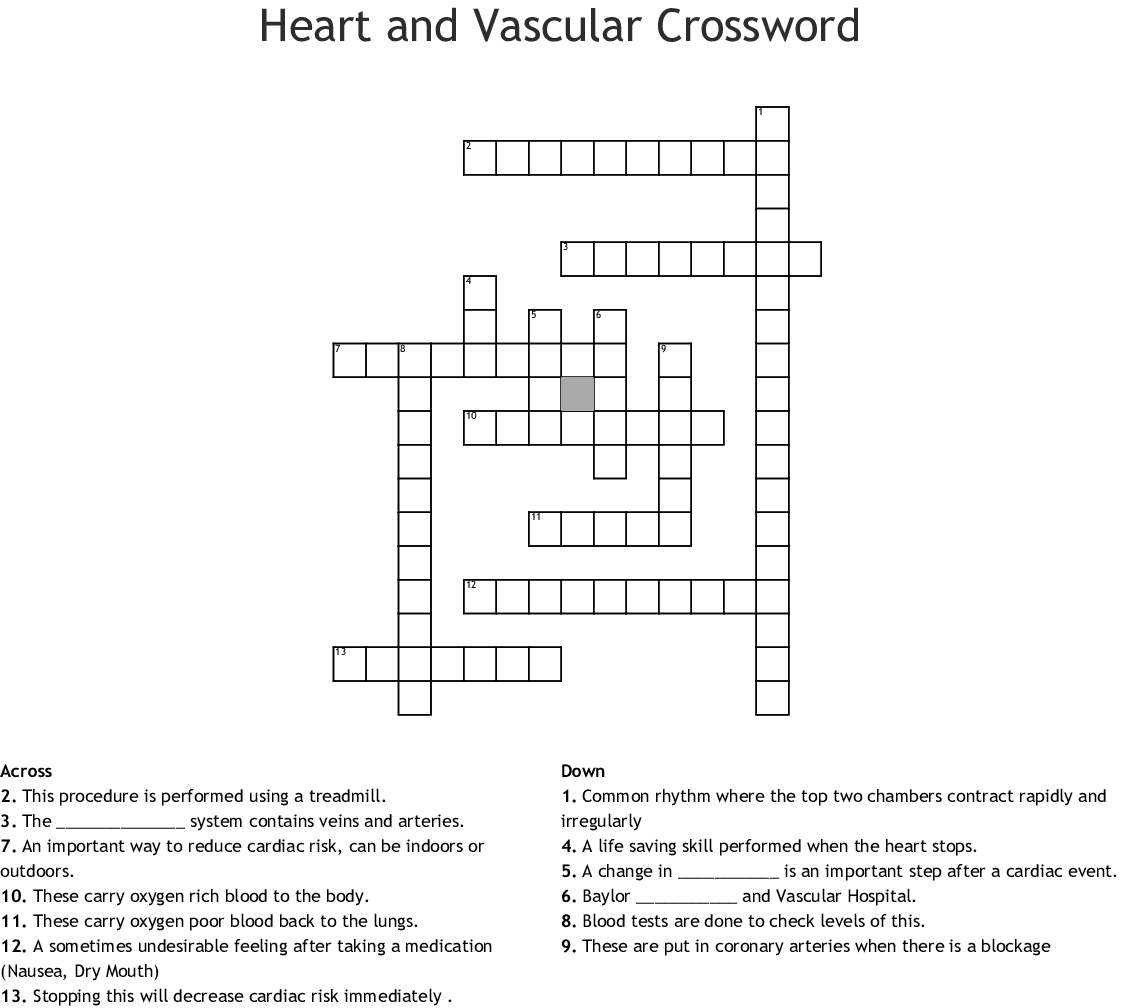 Heart And Vascular Crossword