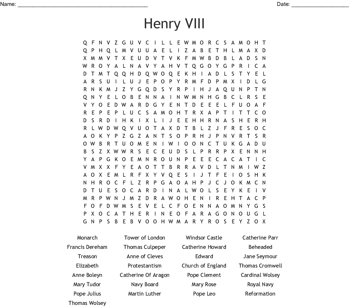 Henry Viii Word Search
