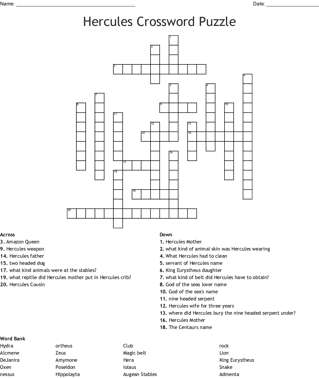 Hercules Crossword Puzzle