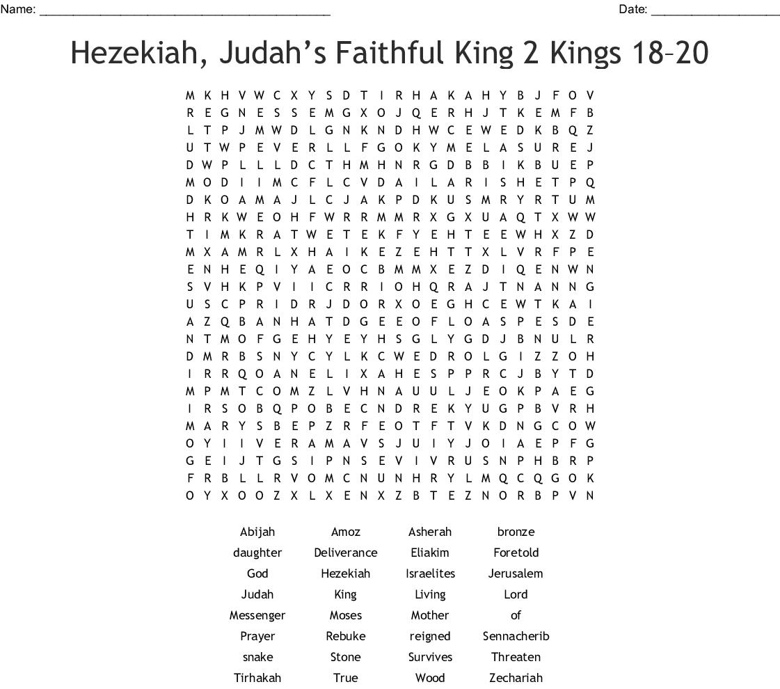 Hezekiah Trusts The Lord Crossword