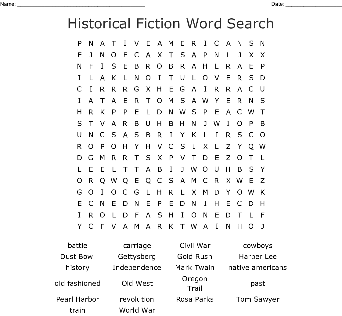 Historical Fiction Word Search