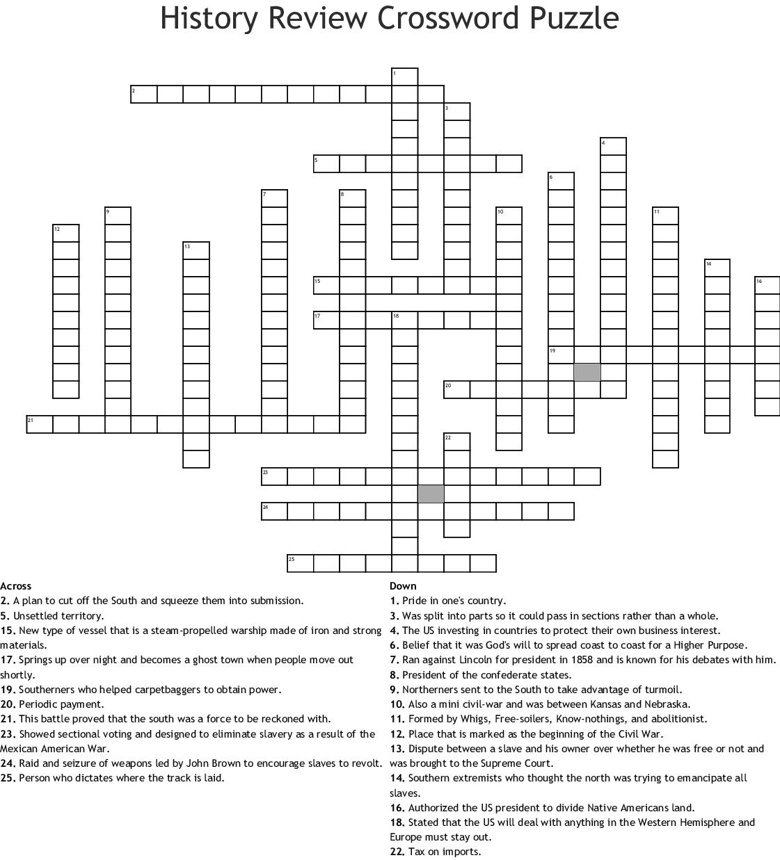 History Review Crossword Puzzle Crossword