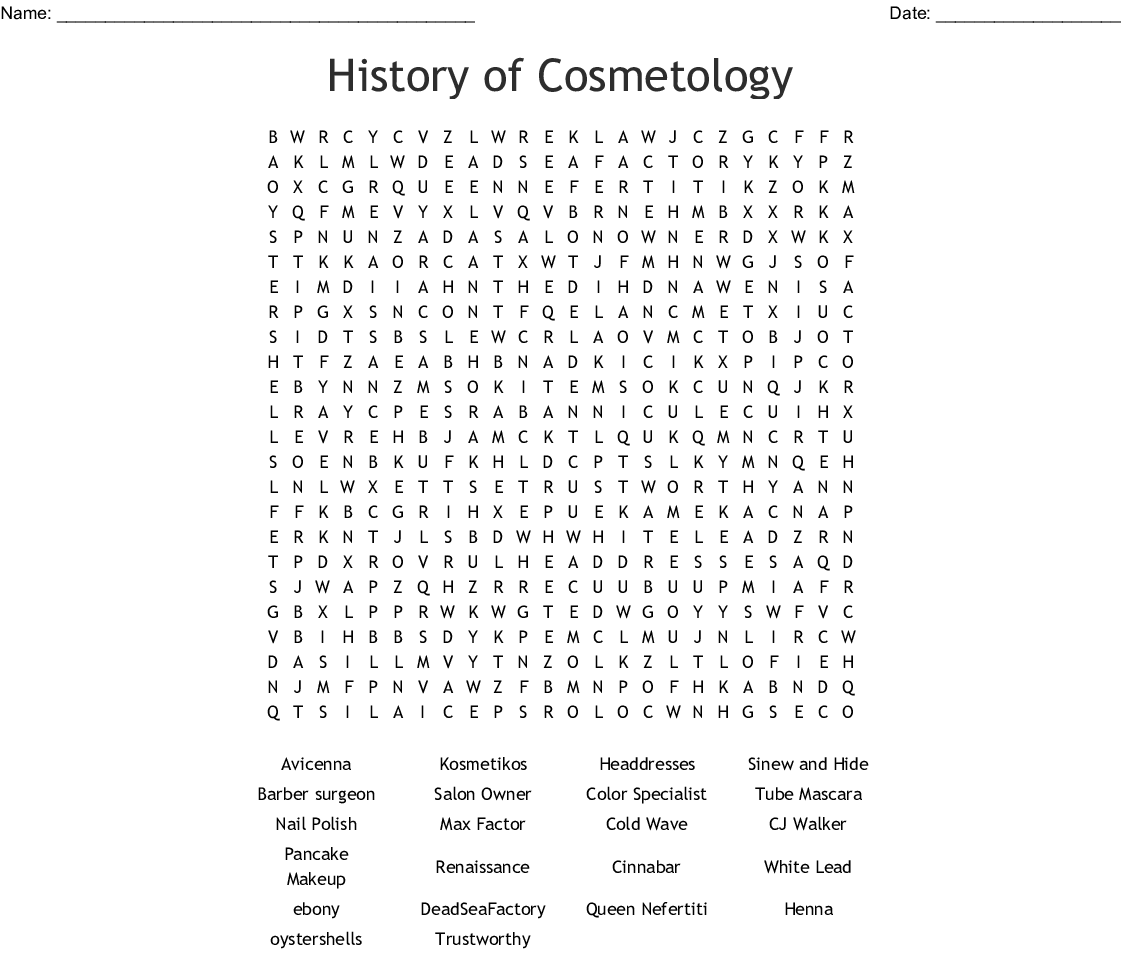 Cosmetology Word Search