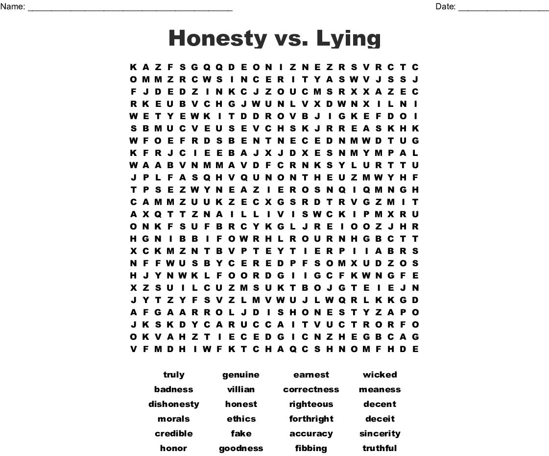 Honesty Vs Lying Word Search