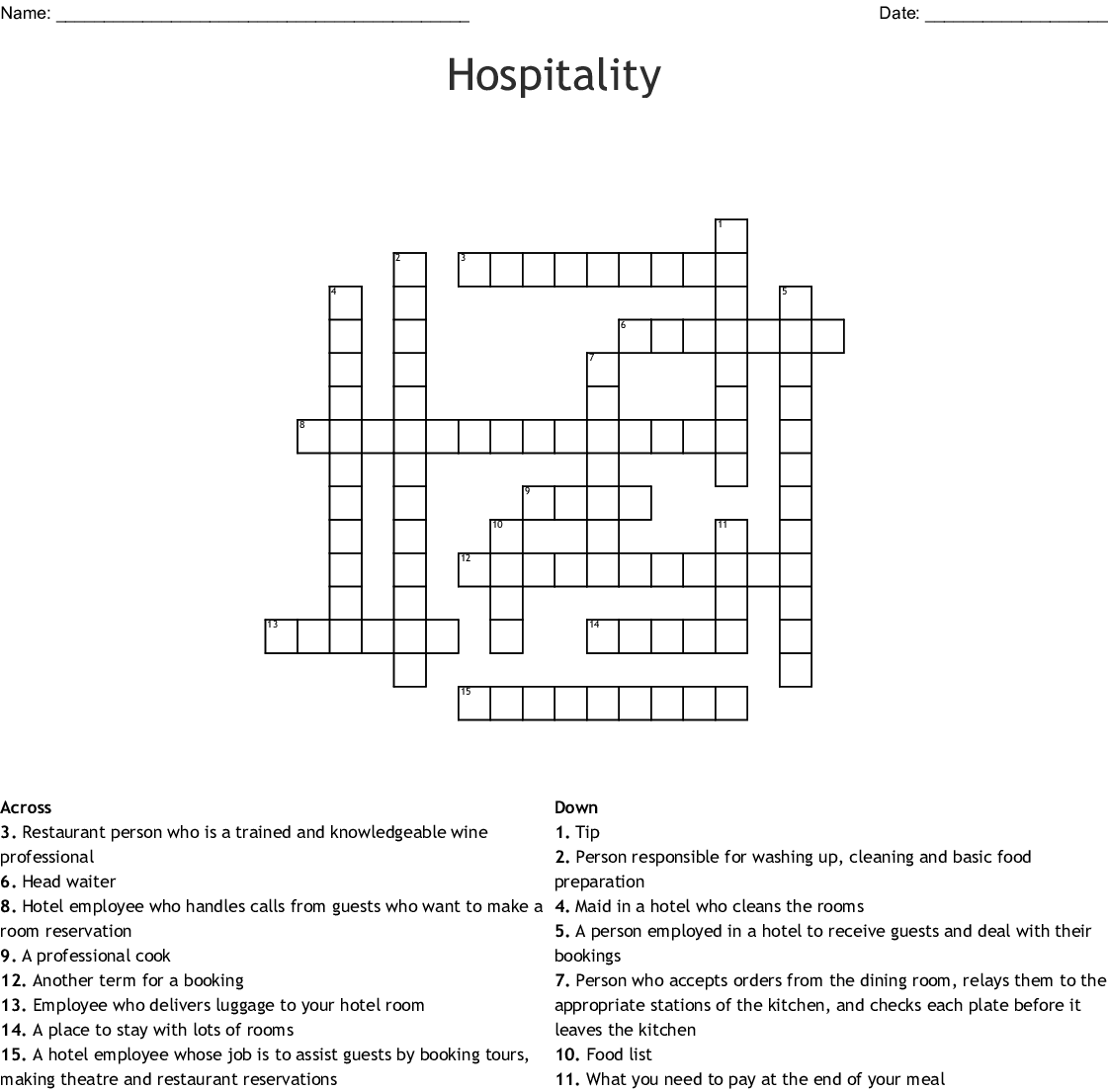 Hospitality Crossword