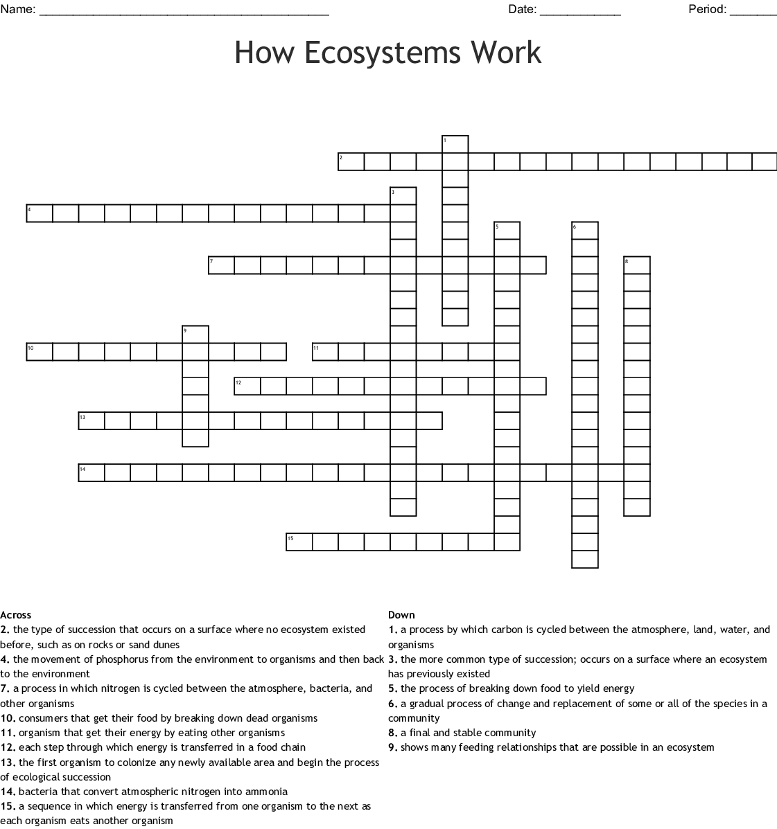 How Ecosystems Work Crossword