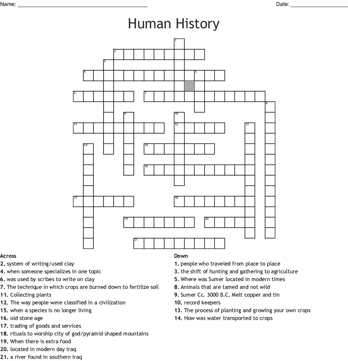 World History Crossword Puzzle
