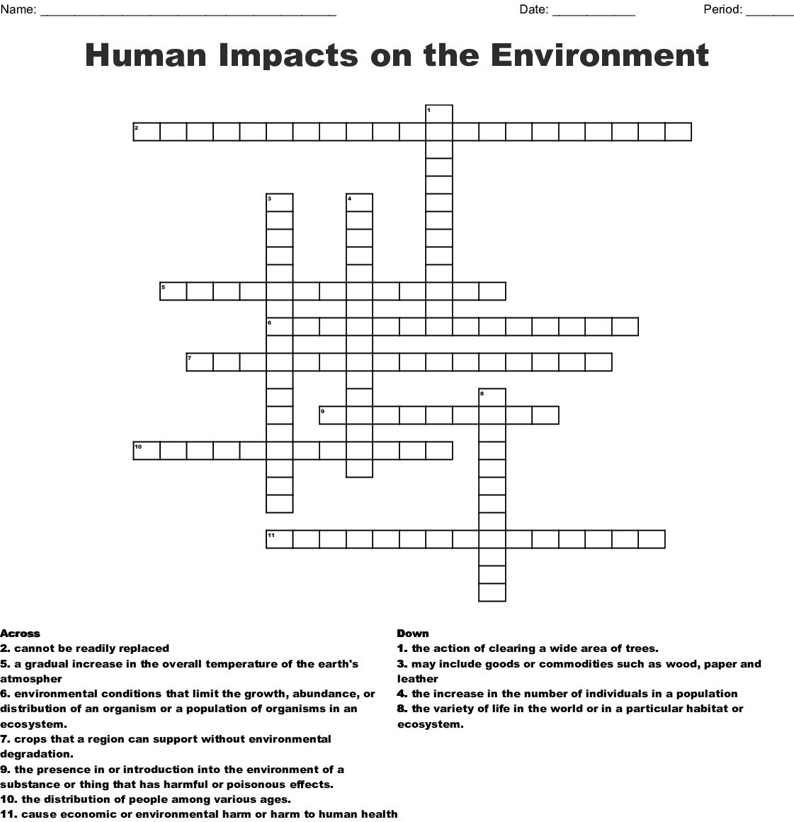 Sustainability Crossword