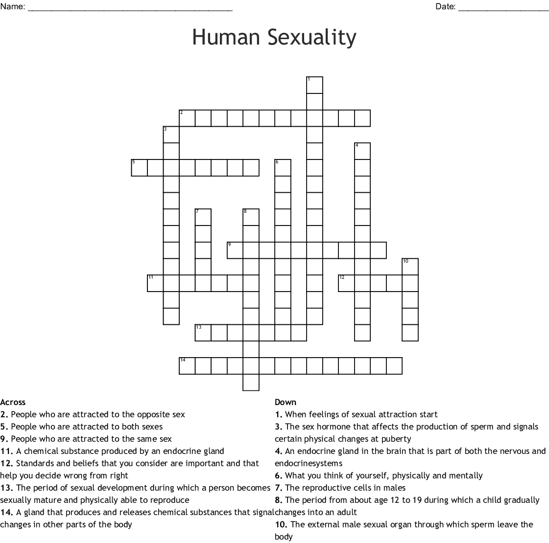 Crossword Puzzle Edhelper Answer Key