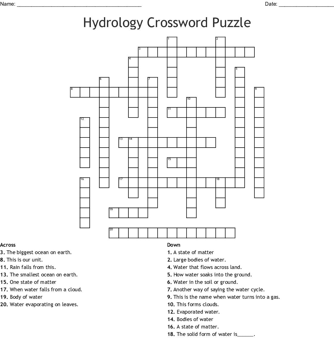 Hydrology Crossword Puzzle Crossword