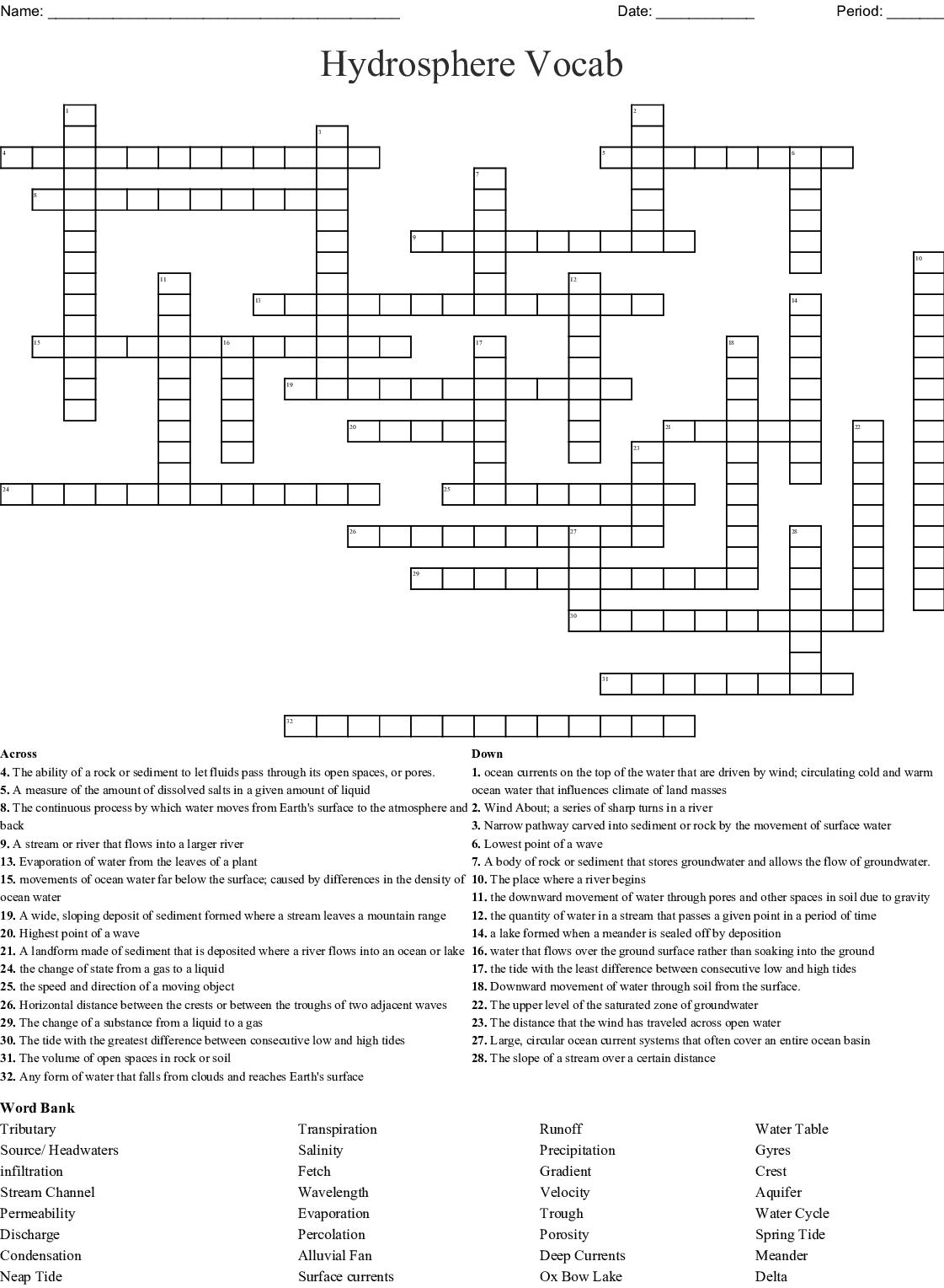 Hydrosphere Vocab Crossword