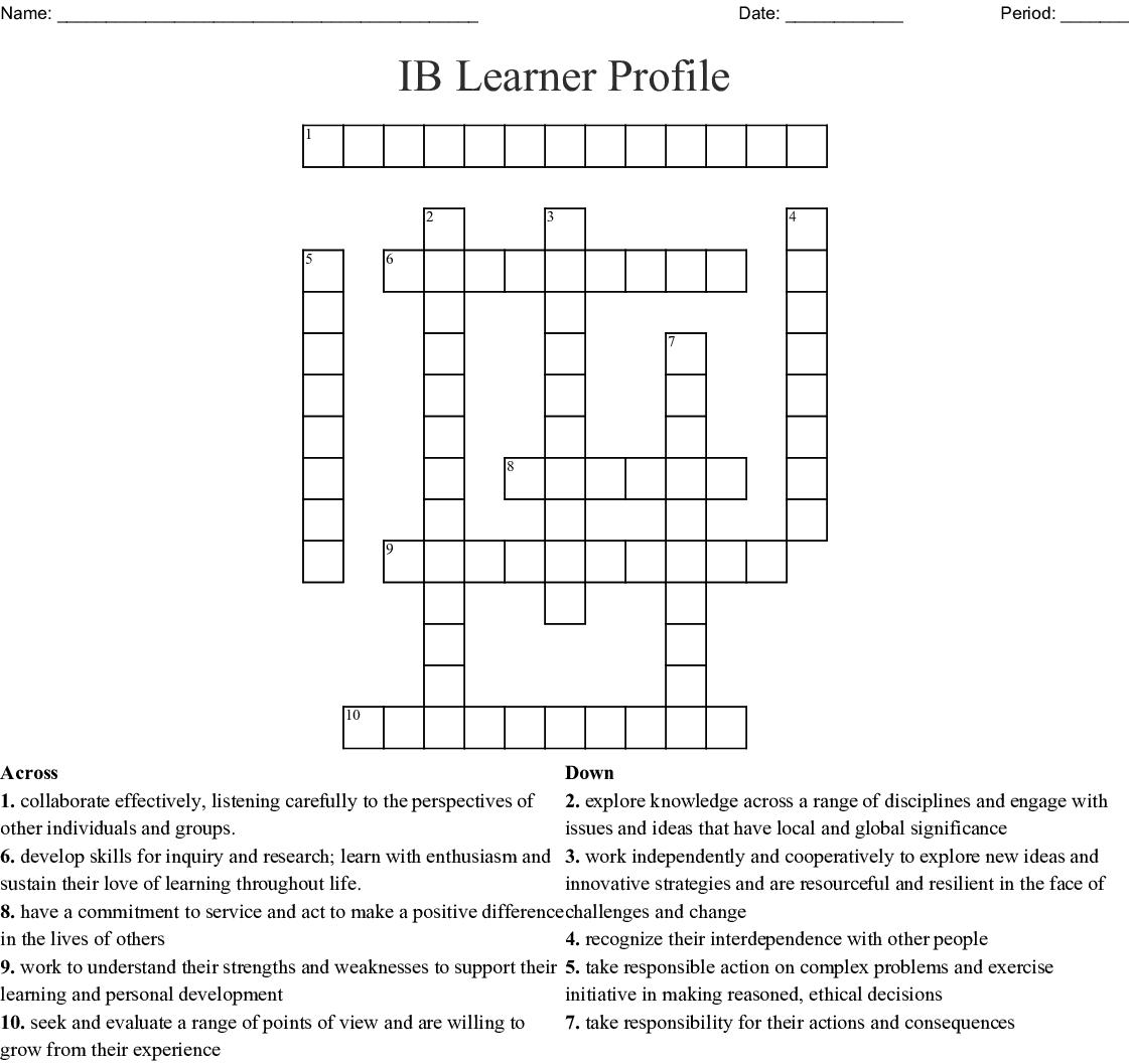 Ib Learner Profile Crossword
