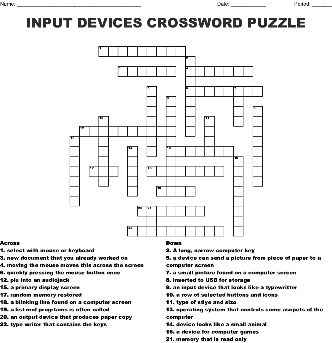 Input Devices Crossword Puzzle