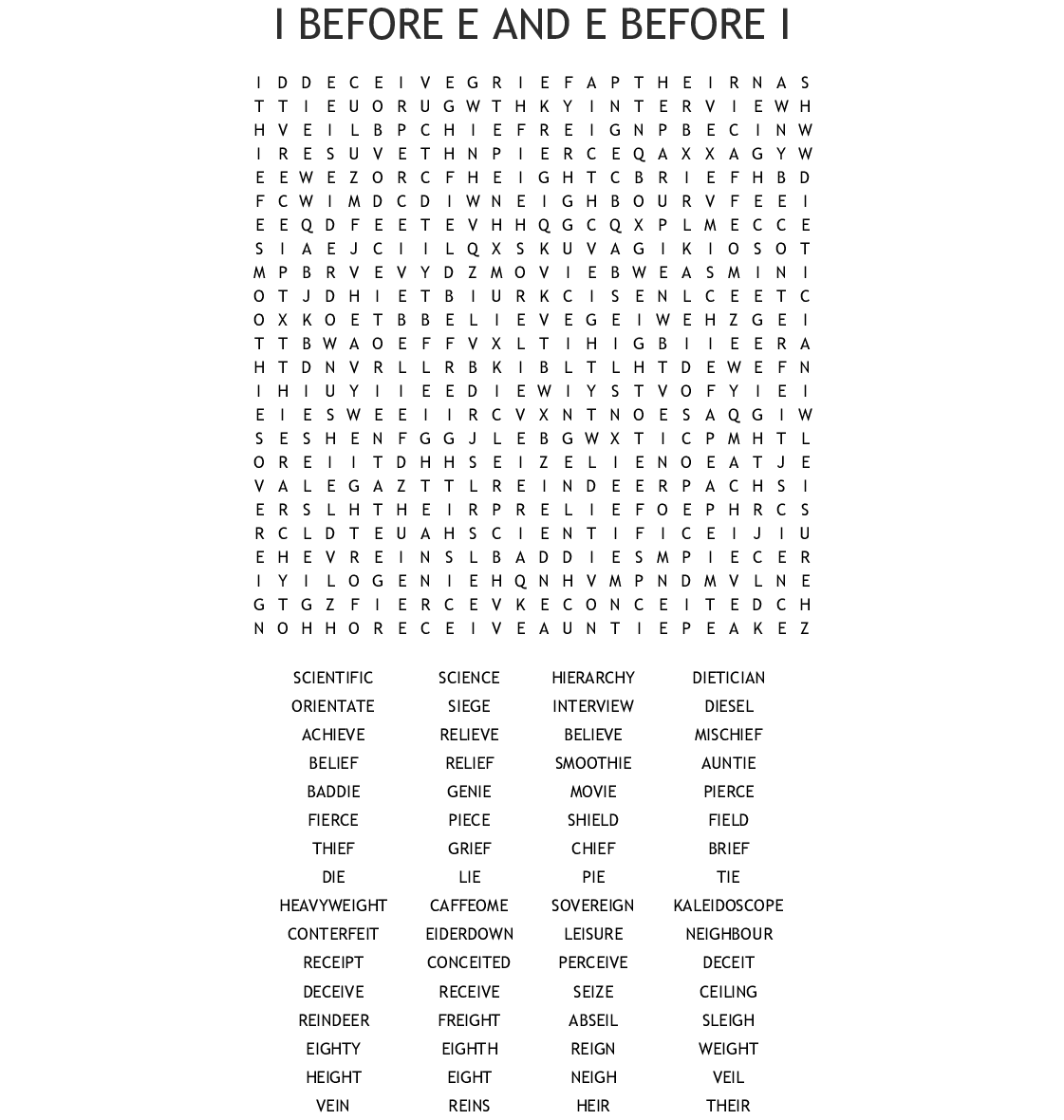 Ei And Ie Words Word Search