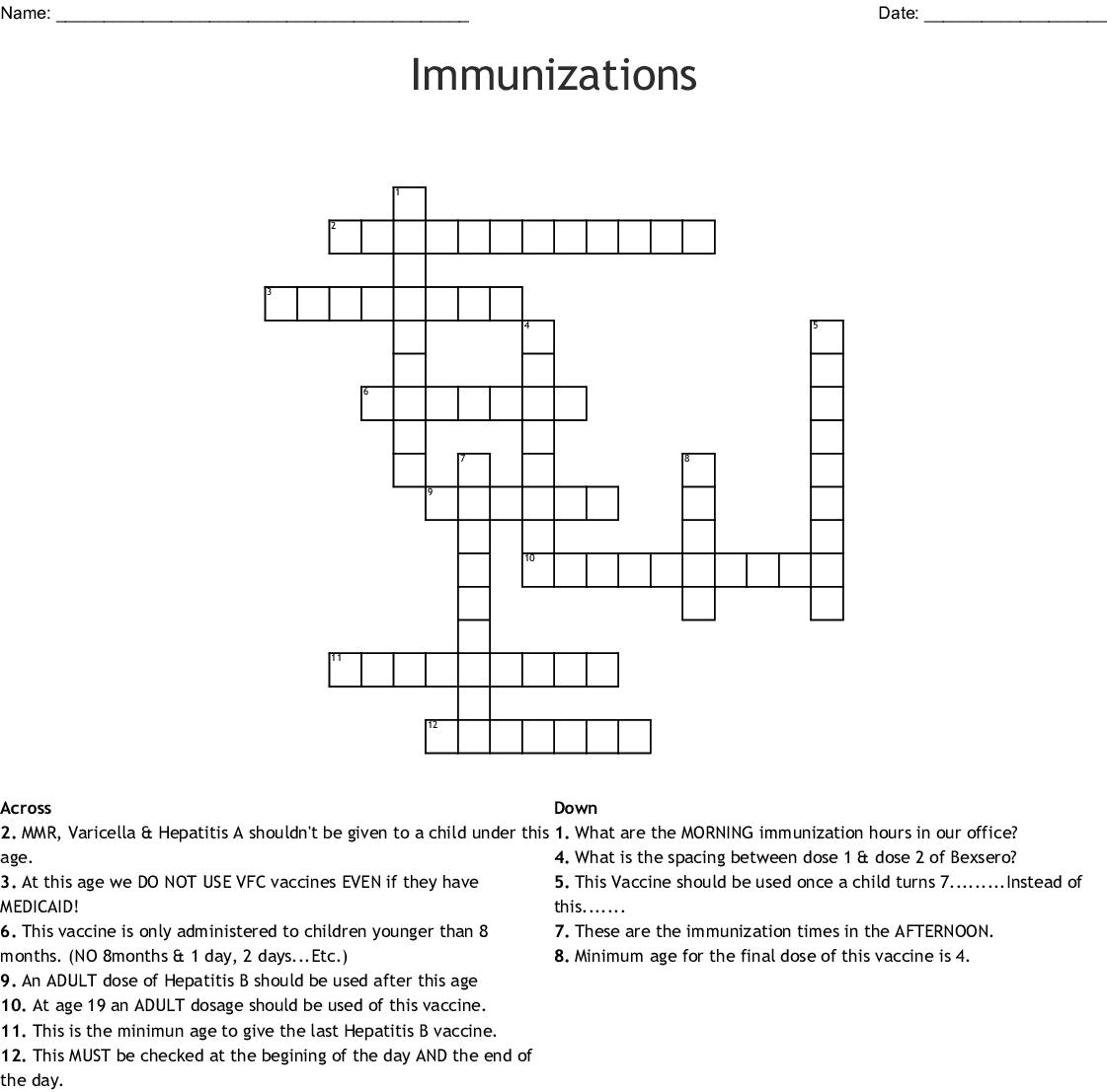 Immunizations Crossword