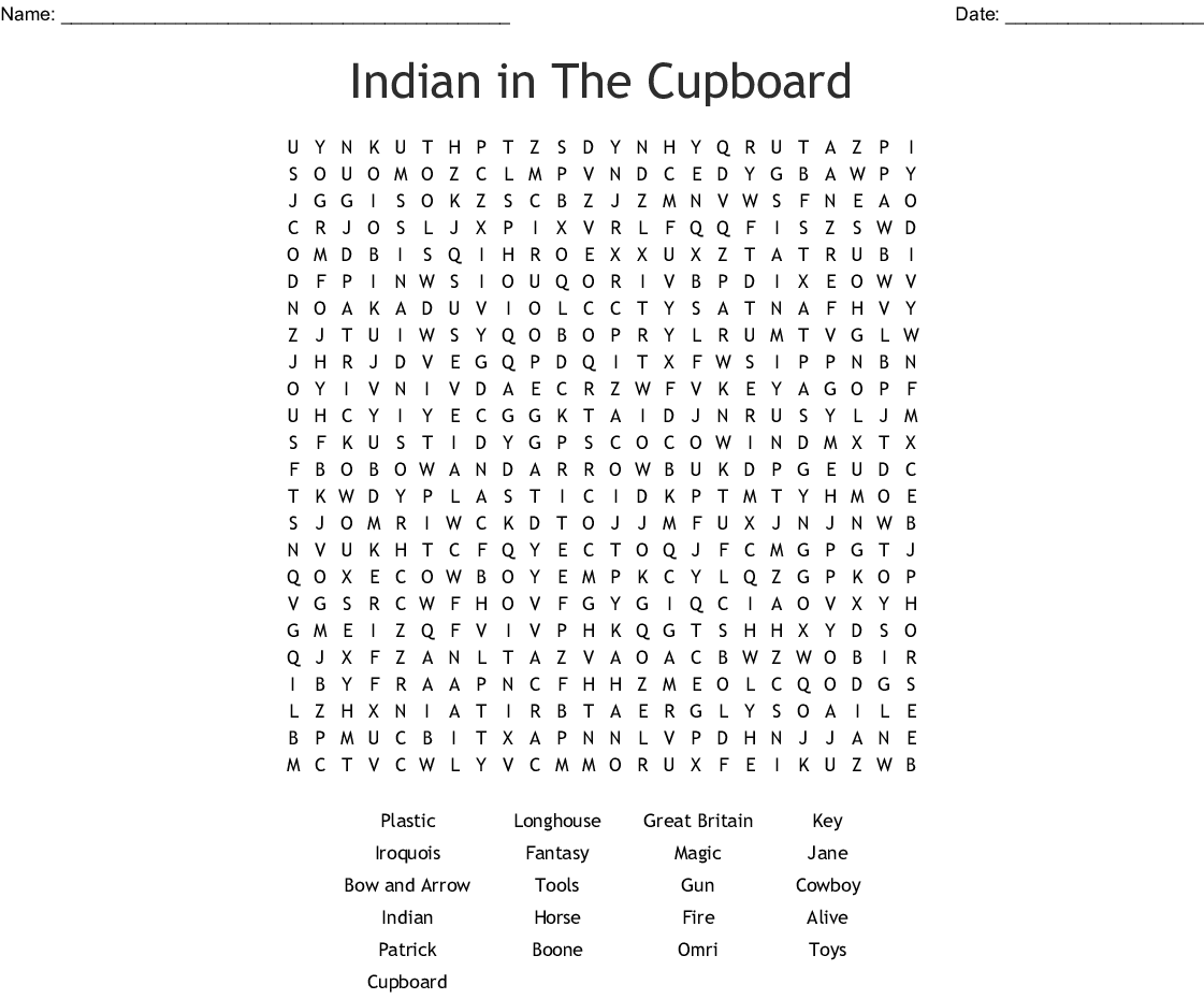 Indian In The Cupboard Word Search