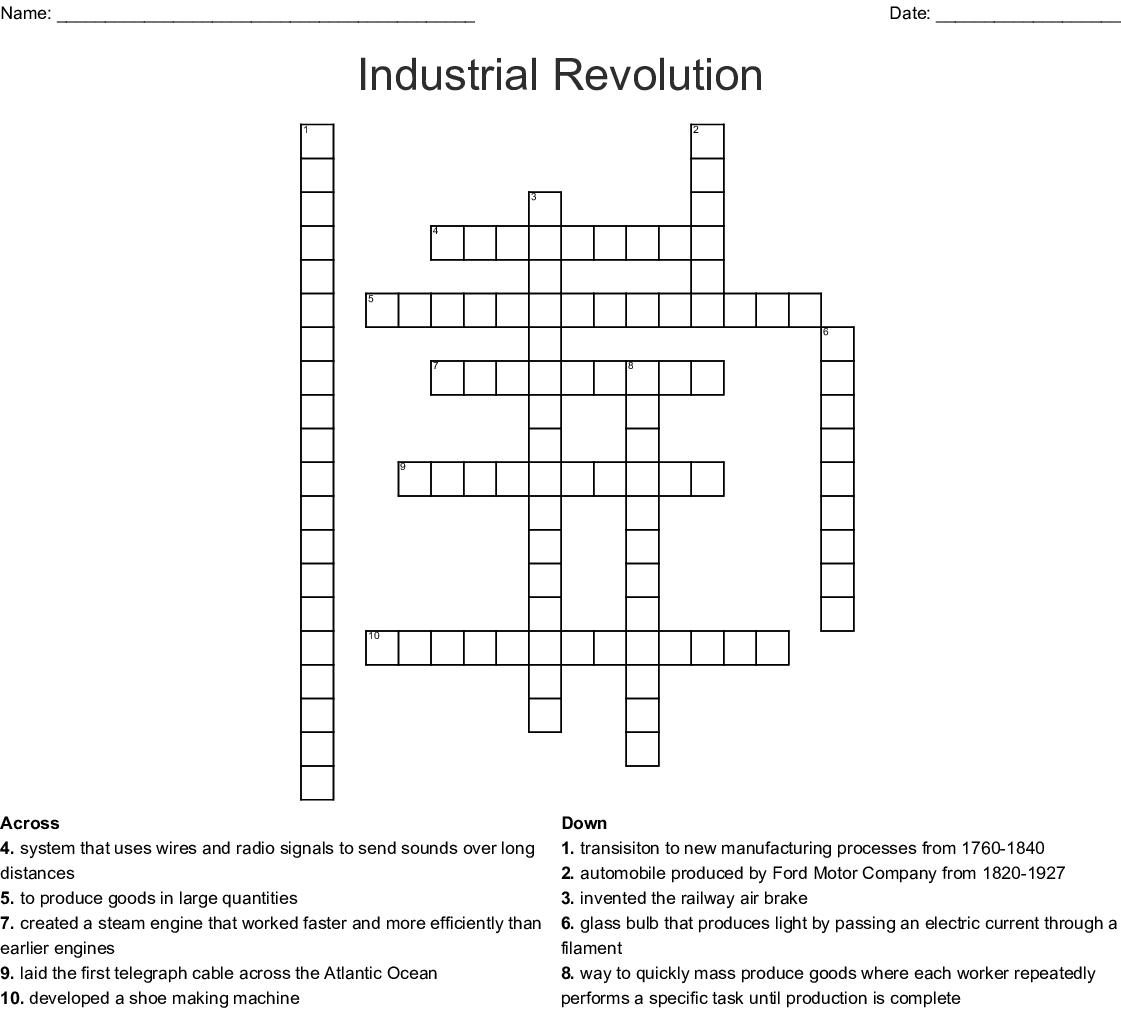 Industrial Revolution Crossword