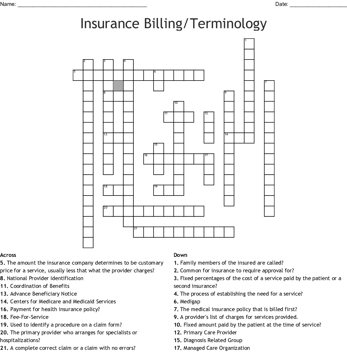 Insurance Terms Crossword Puzzle Answer Key