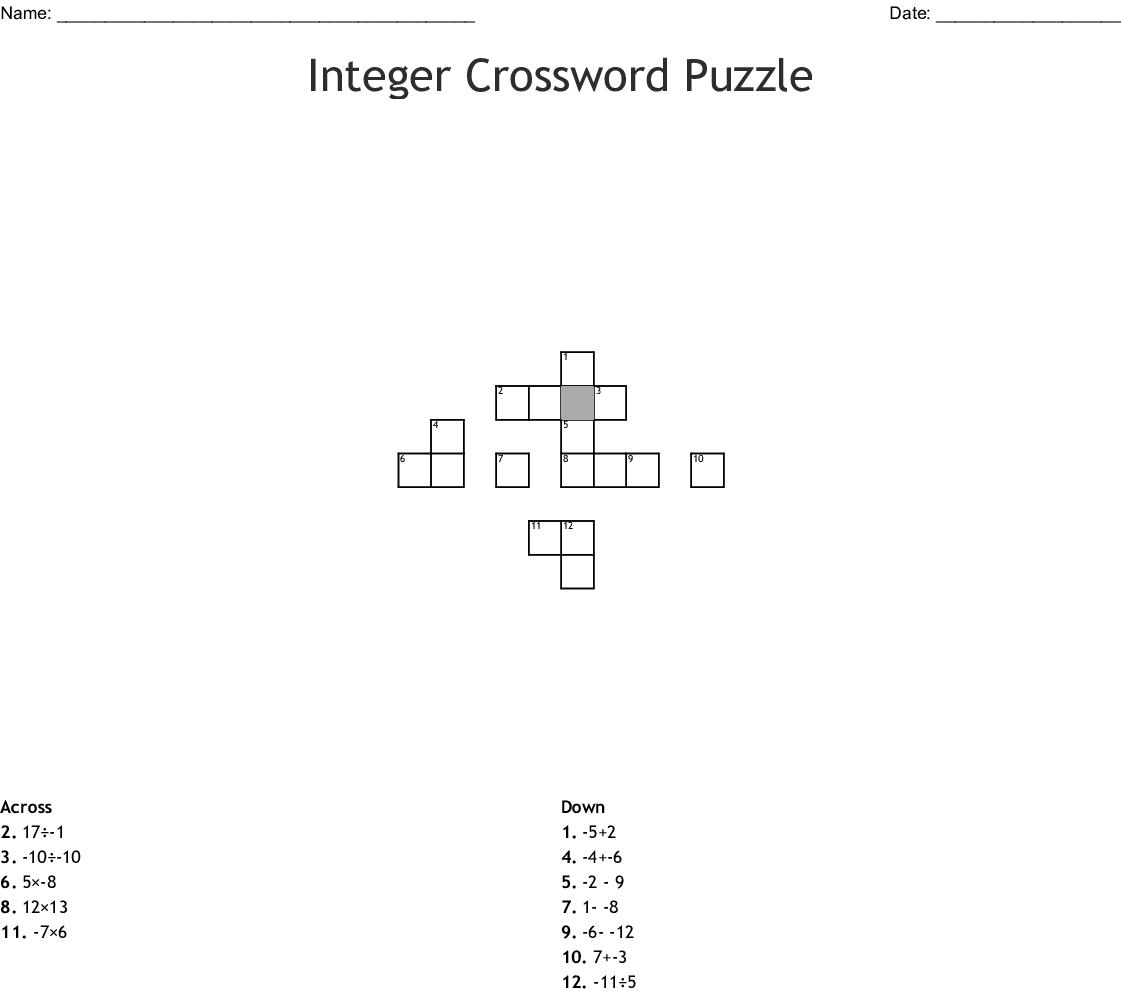 Integer Crossword Puzzle