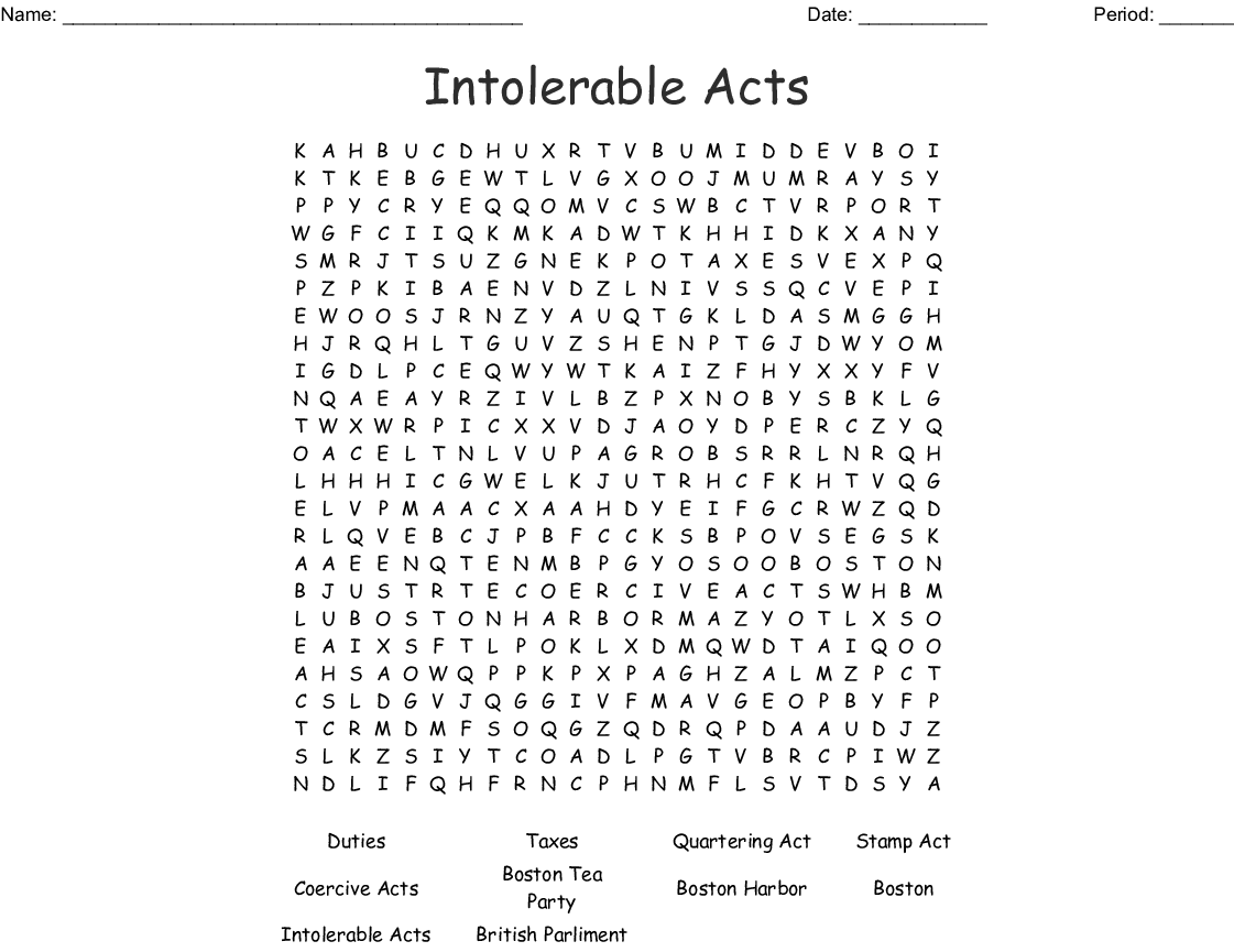 Intolerable Acts Word Search