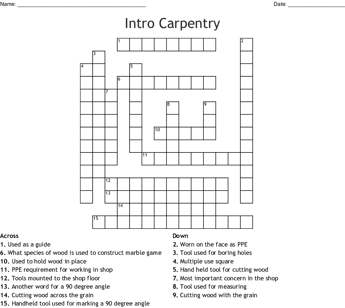 Intro Carpentry Crossword