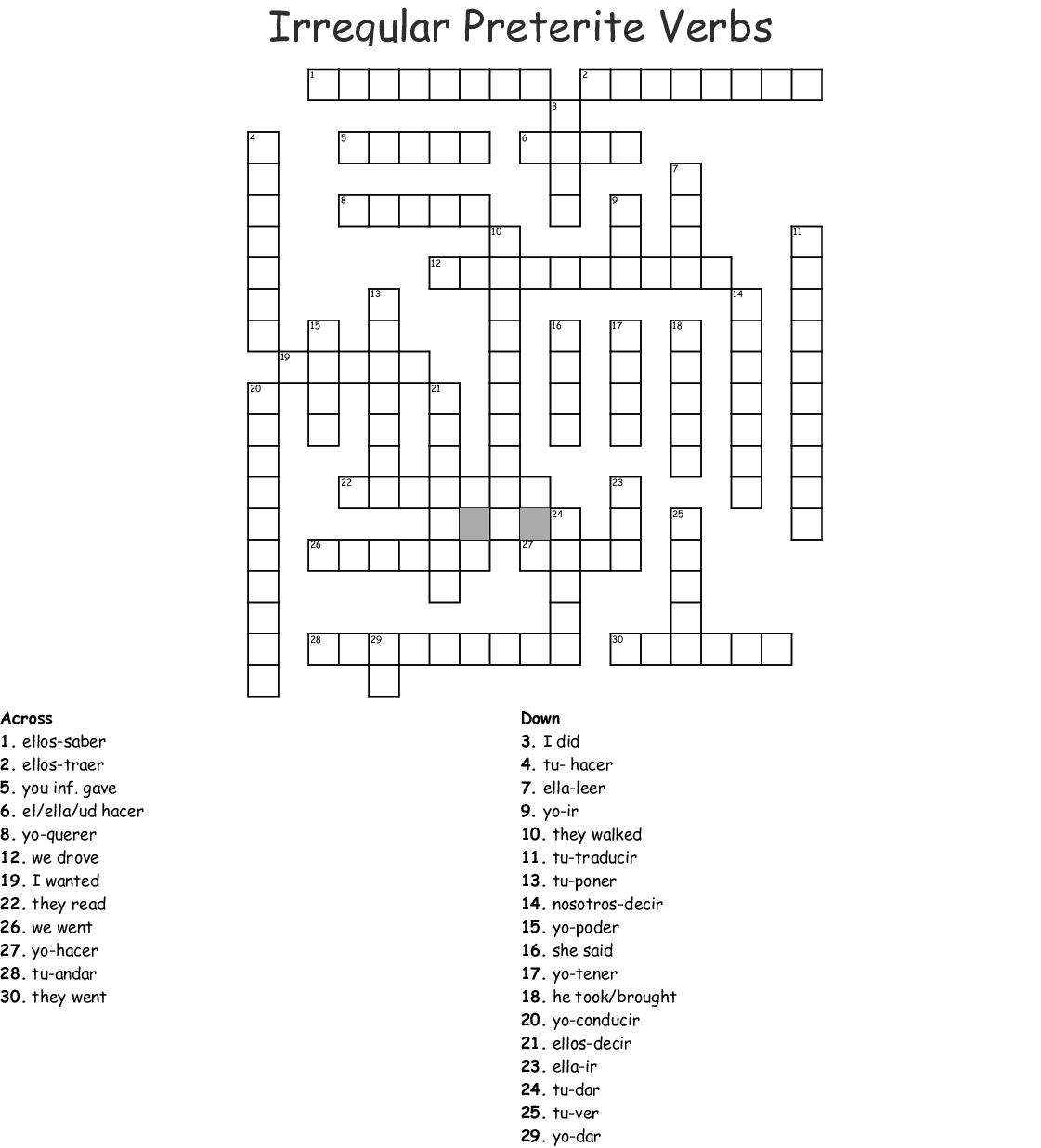 Preterit Crossword