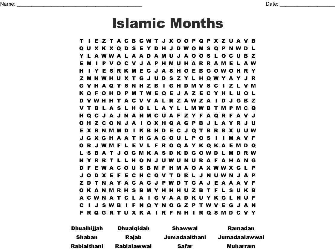 Islamic Terms Word Search