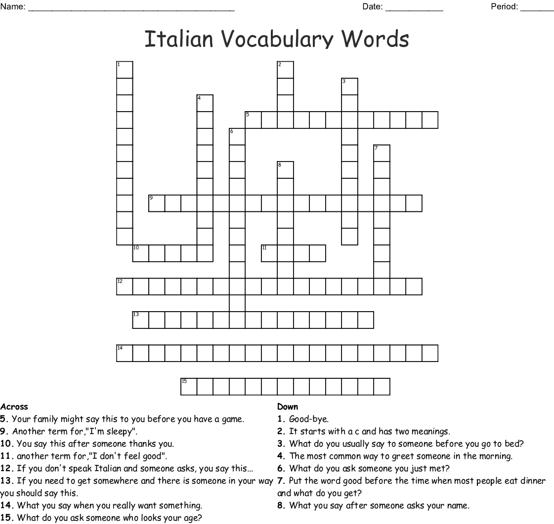 Anno 8 Cruciverba Crossword
