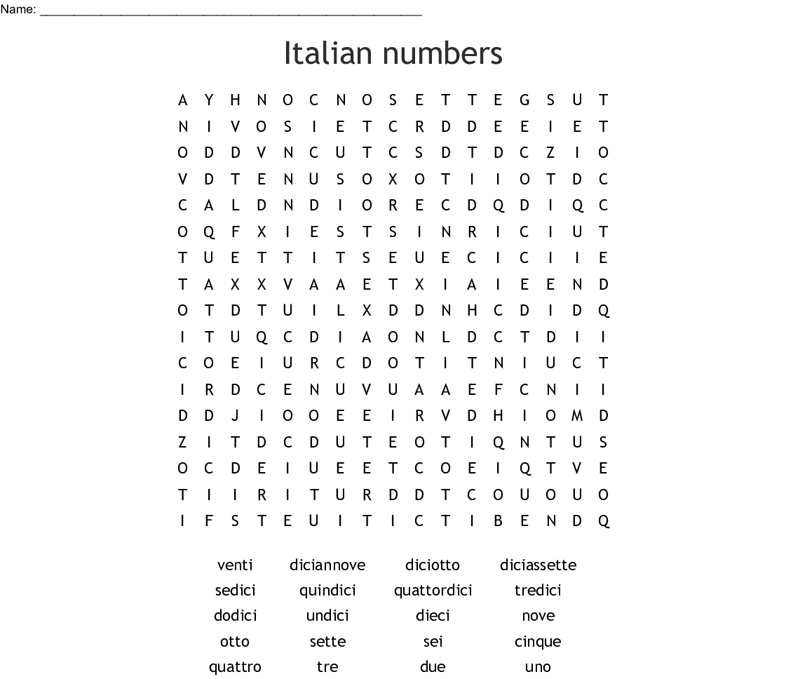 Italian Numbers Word Search