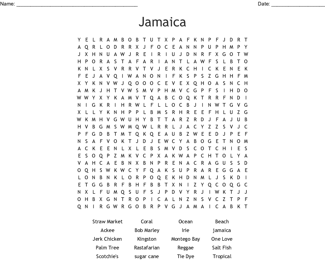 Jamaica Word Search