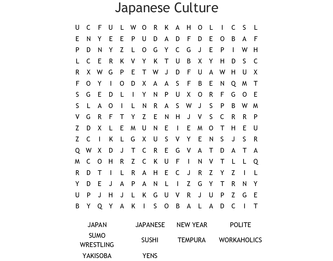 Japanese Food Word Search