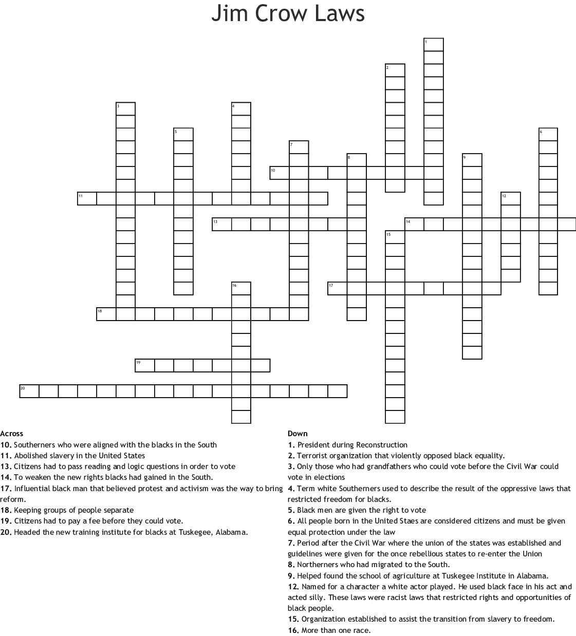 8th Grade Social Stu S Crossword