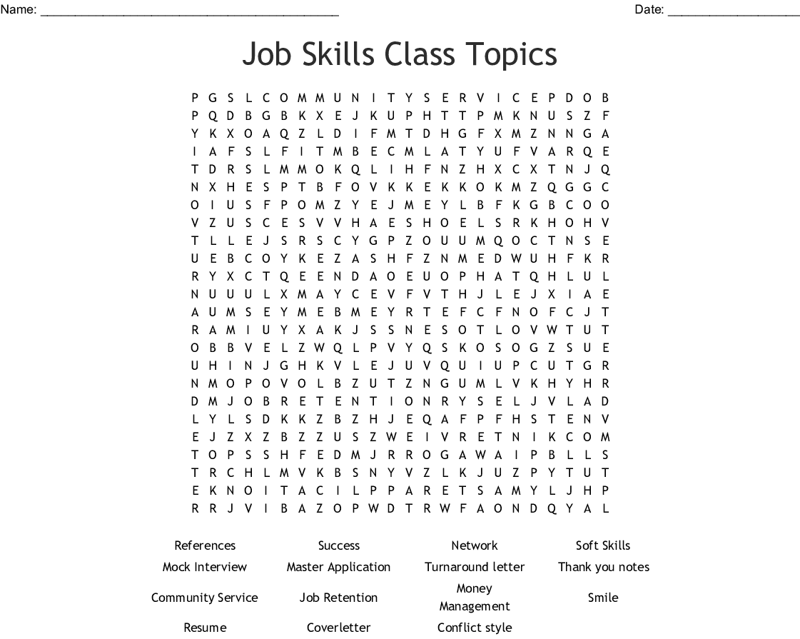 Customer Service Word Search