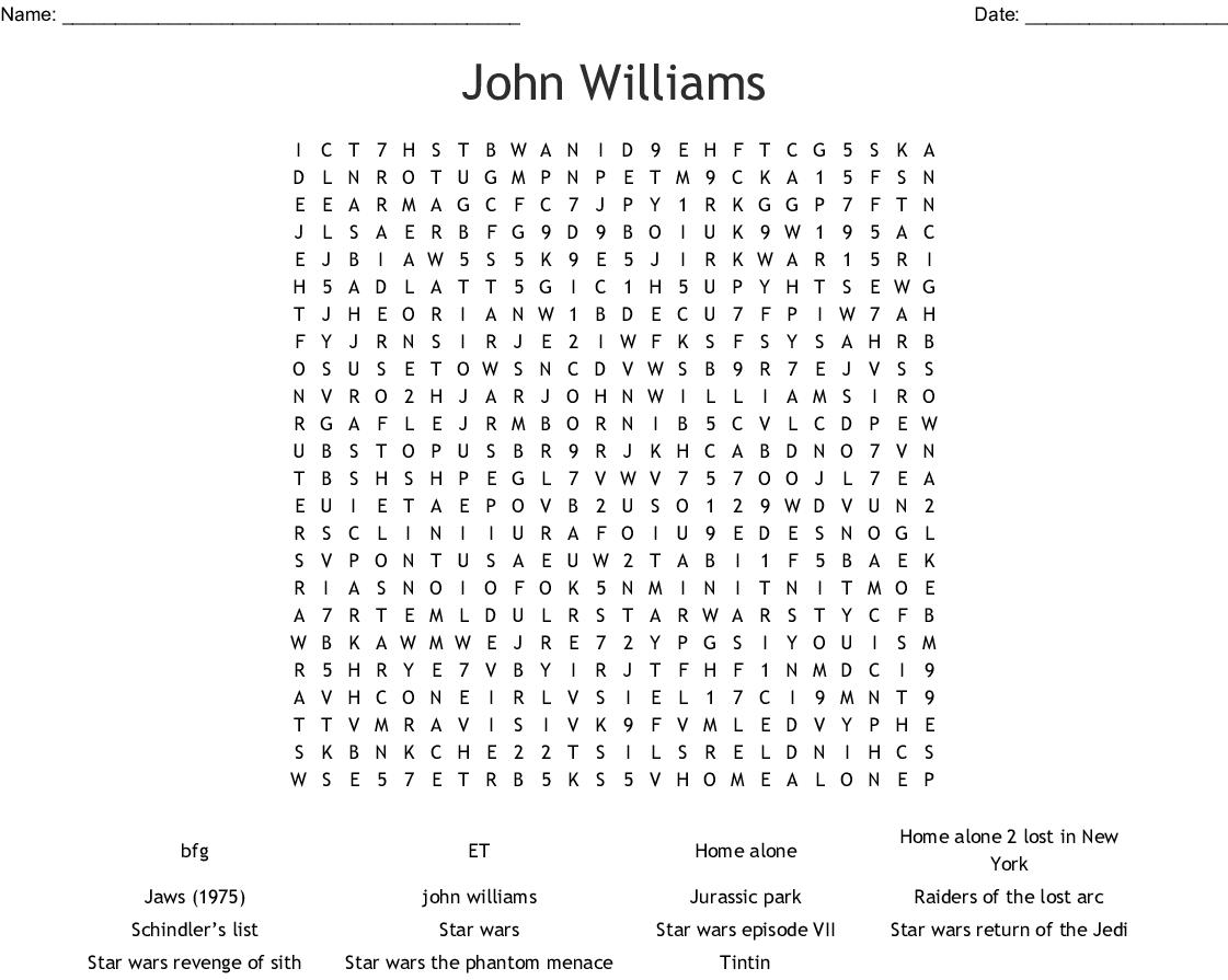 John Williams Word Search