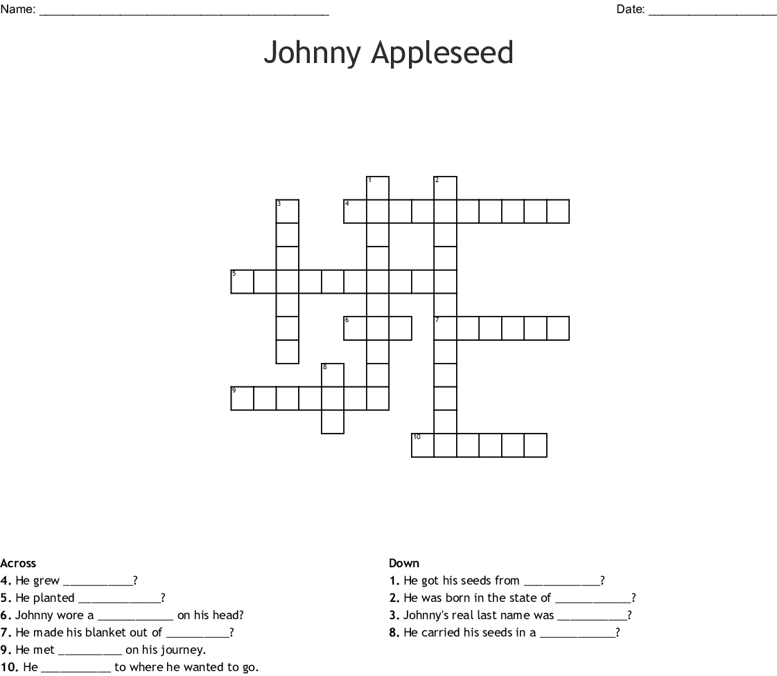Johnny Appleseed Crossword