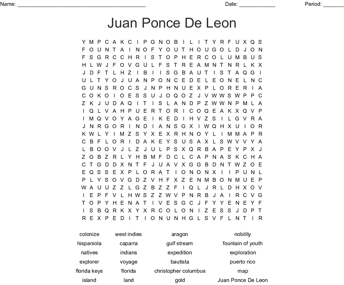 Juan Ponce De Leon Word Search