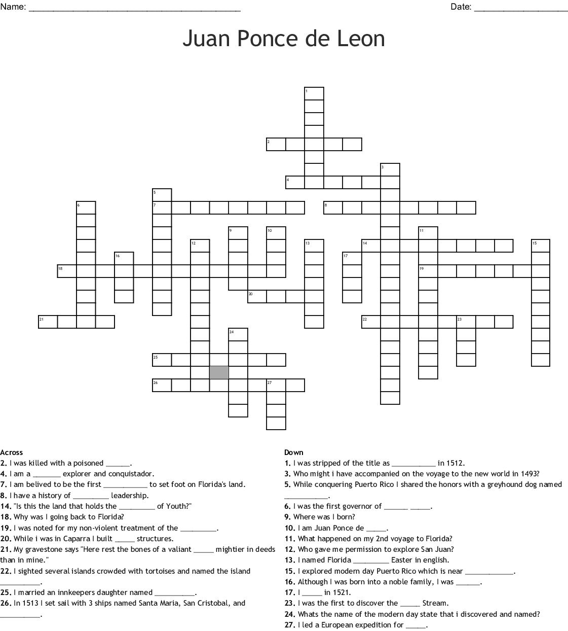 Juan Ponce De Leon Word Search