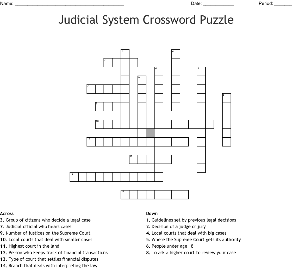 Crossword Puzzle Icivics Judicial Branch In A Flash