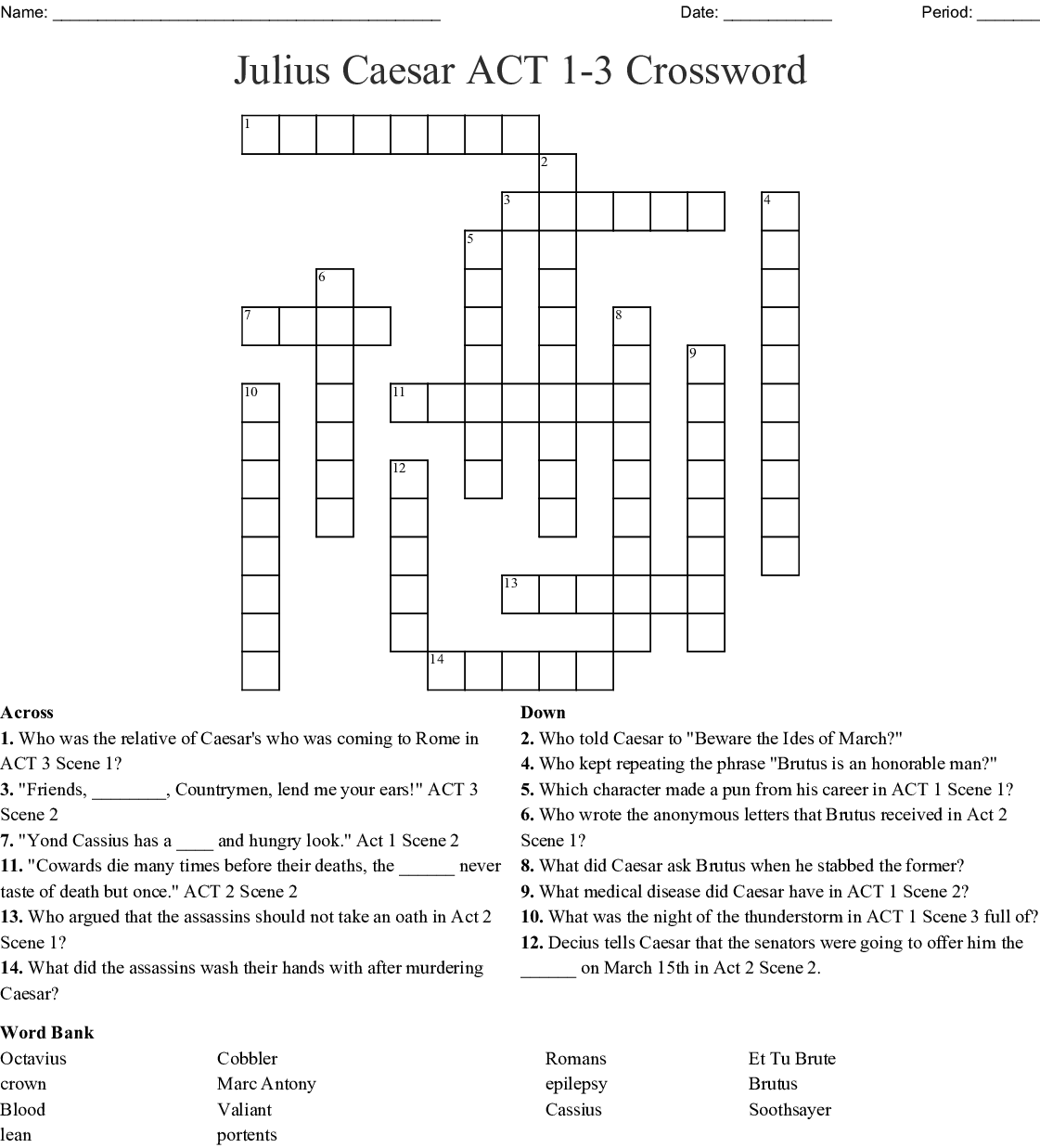 Julius Caesar Act 1 3 Crossword