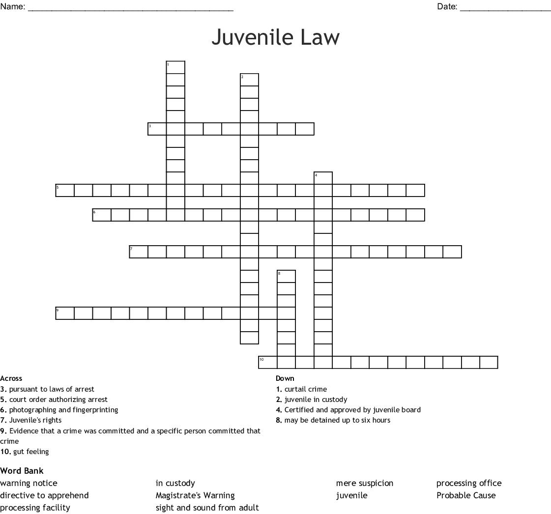 Juvenile Law Crossword