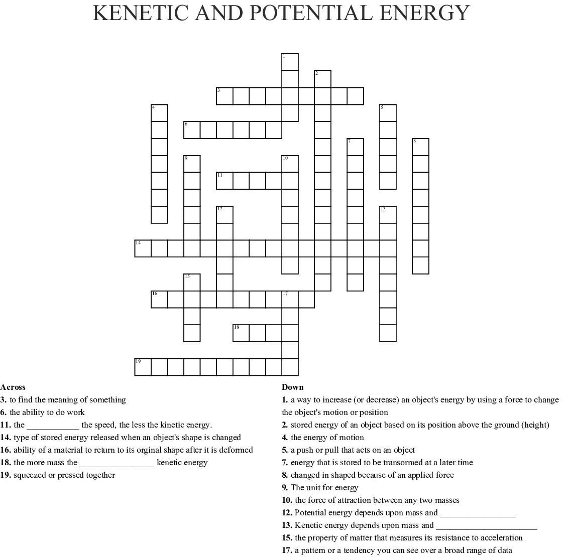 Kinetic Vs Potential Energy Worksheet
