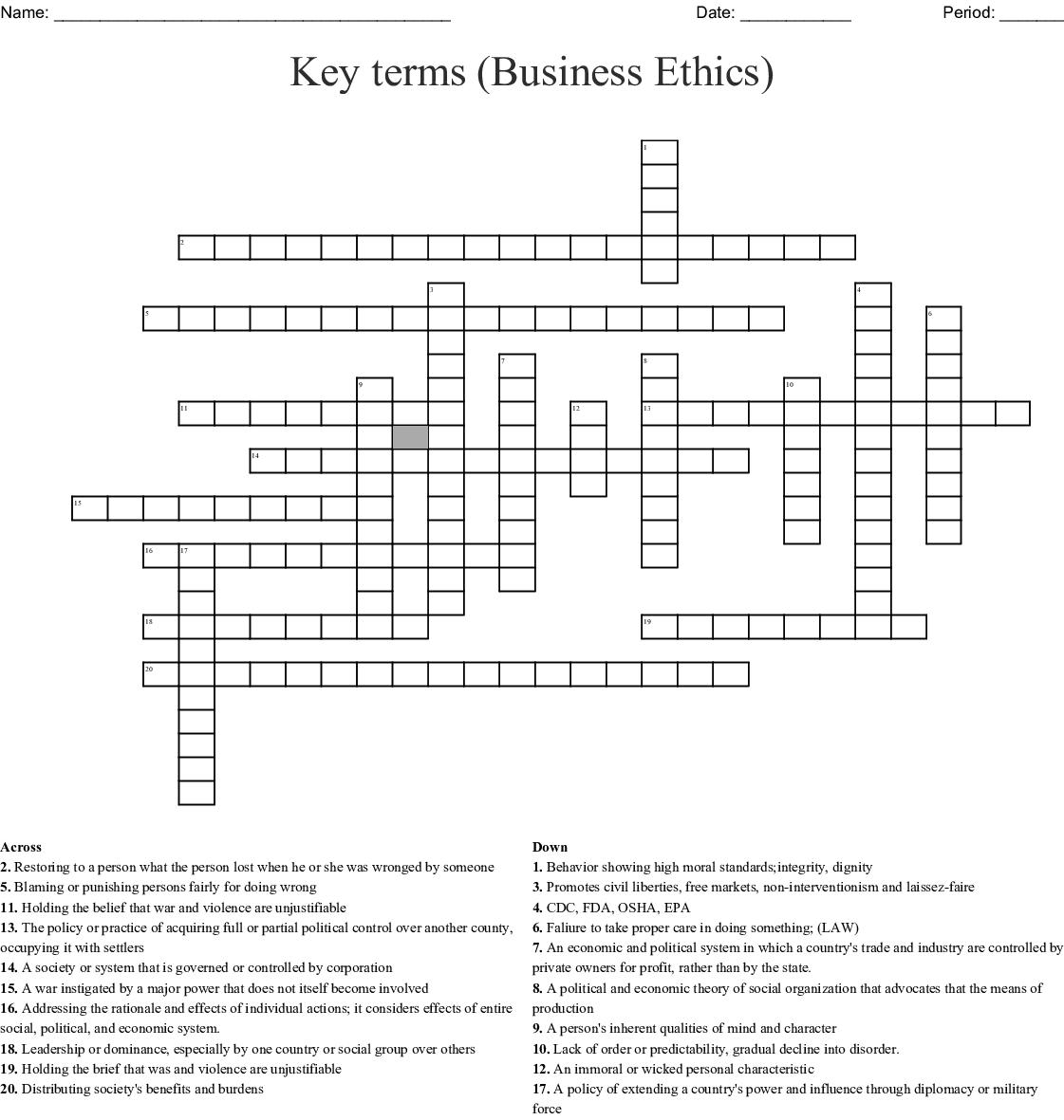 Key Terms Crossword