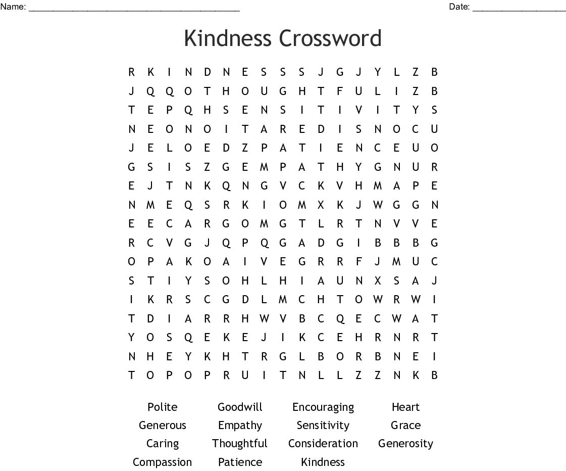 Kindness Crossword Word Search