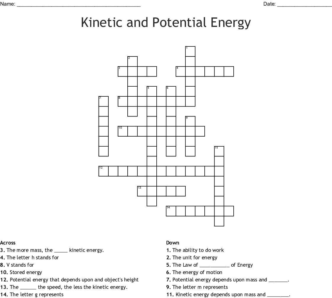 Potential And Kinetic Energy Worksheet 6th Grade