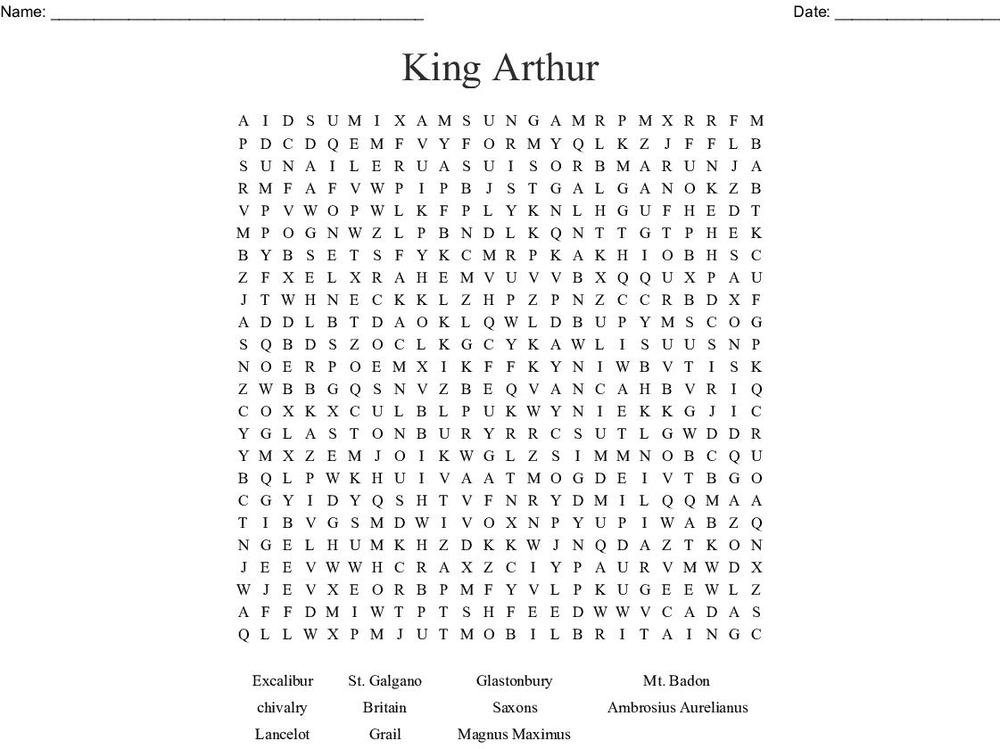 King Arthur Word Search