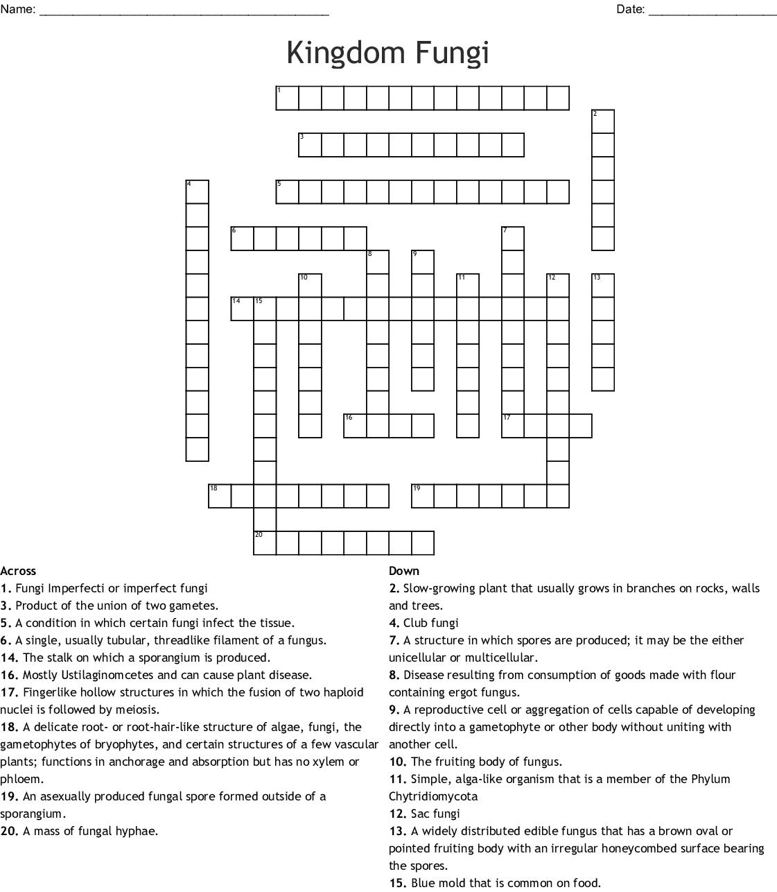 Kingdom Fungi Crossword